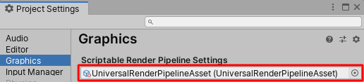 Project settings - URP asset
